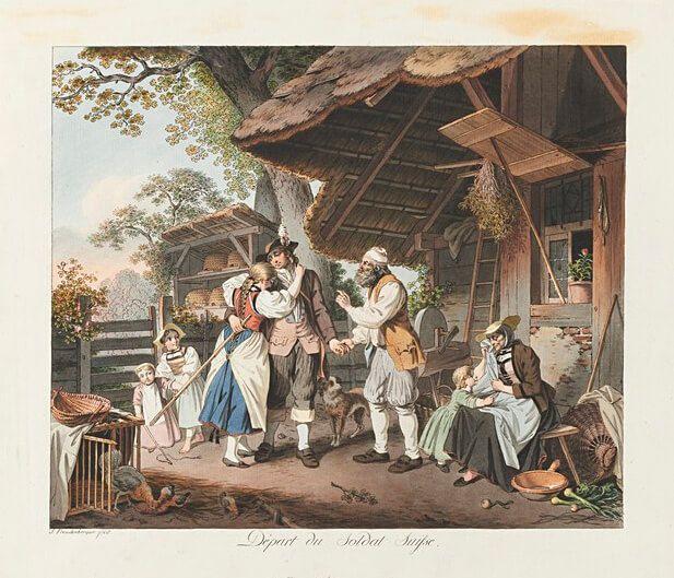 Ill. 6: Saying farewell, the 'Swiss disease': homesickness, circa 1780